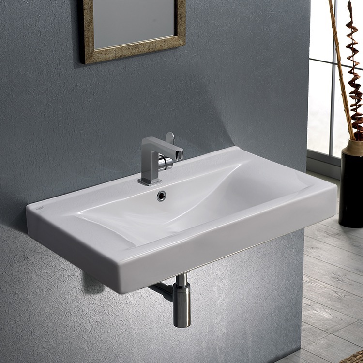 Bathroom Sink, CeraStyle 064400-U, Rectangular White Ceramic Wall Mounted or Self-Rimming Sink