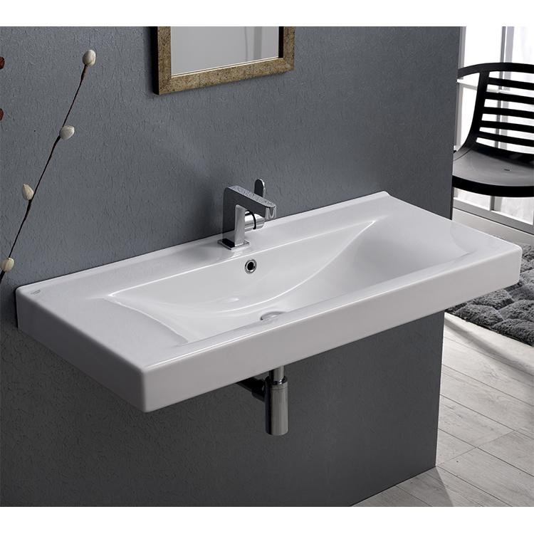 bathroom sink cerastyle 064600u rectangular white ceramic wall mounted or drop in