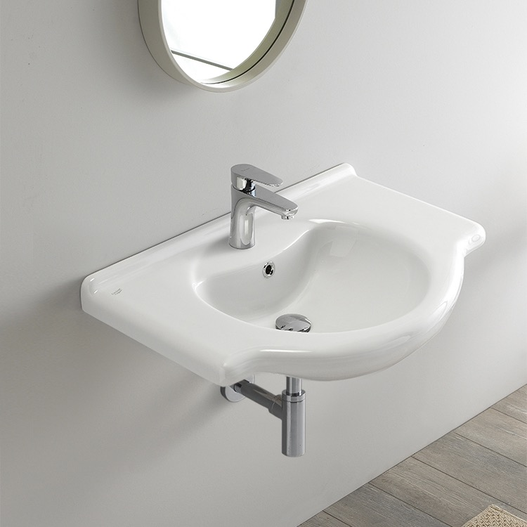 Bathroom Sink, CeraStyle 066100-U-One Hole, Rectangular White Ceramic Wall Mounted or Drop In Sink