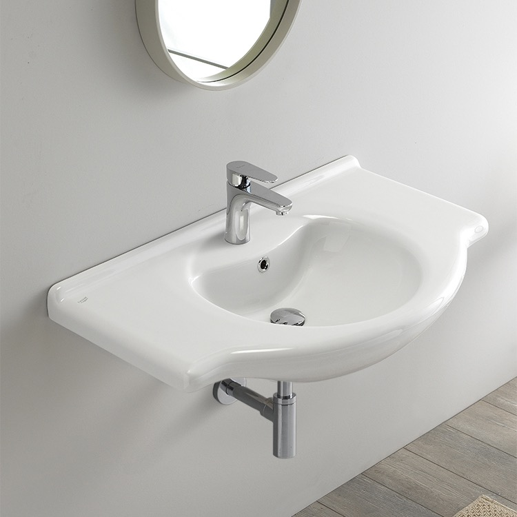 Bathroom Sink, CeraStyle 066500-U-One Hole, Rectangular White Ceramic Wall Mounted or Drop In Sink