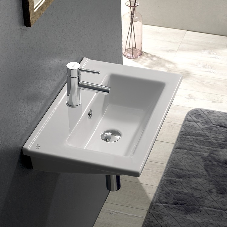 Bathroom Sink, CeraStyle 067300-U-One Hole, Rectangular White Ceramic Bathroom Sink