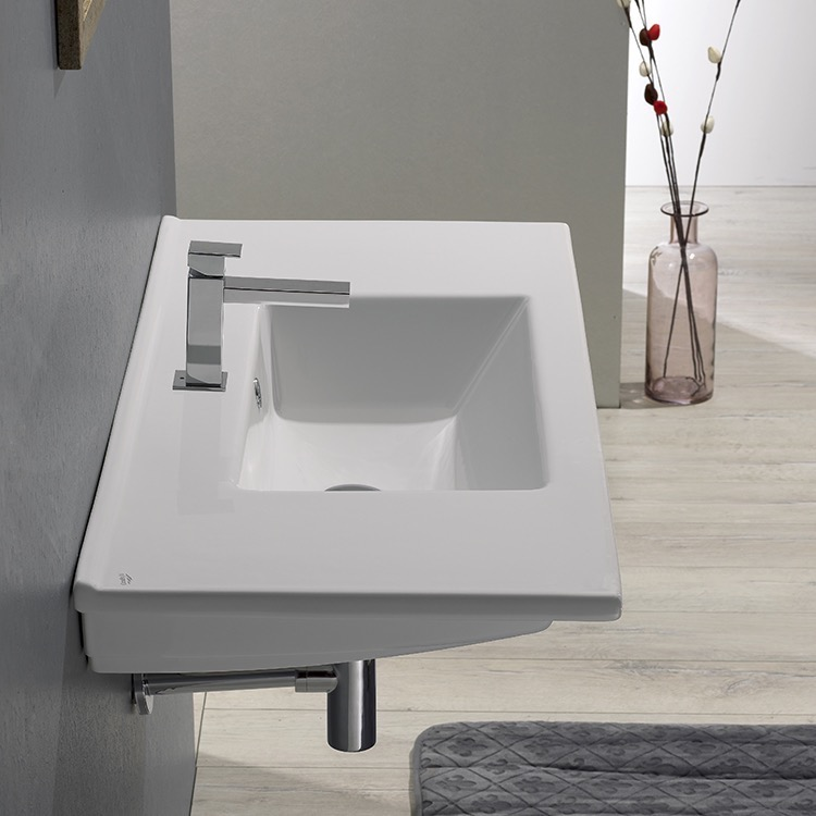 Bathroom Sink, CeraStyle 067500-U, Rectangular White Ceramic Wall Mount or Drop In Bathroom Sink