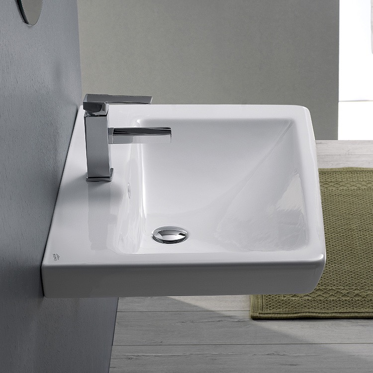 Bathroom Sink, CeraStyle 068000-U-One Hole, Rectangle White Ceramic Wall Mounted or Drop In Sink