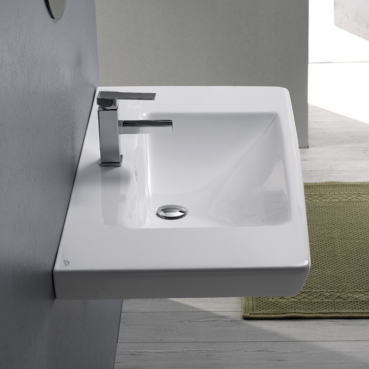 Bathroom Sink, CeraStyle 068100-U-One Hole, Rectangle White Ceramic Wall Mounted or Drop In Sink