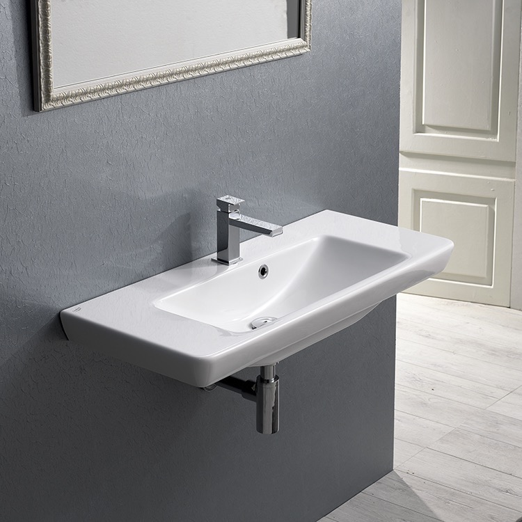 Bathroom Sink, CeraStyle 068300-U, Rectangular White Ceramic Wall Mounted or Drop In Sink