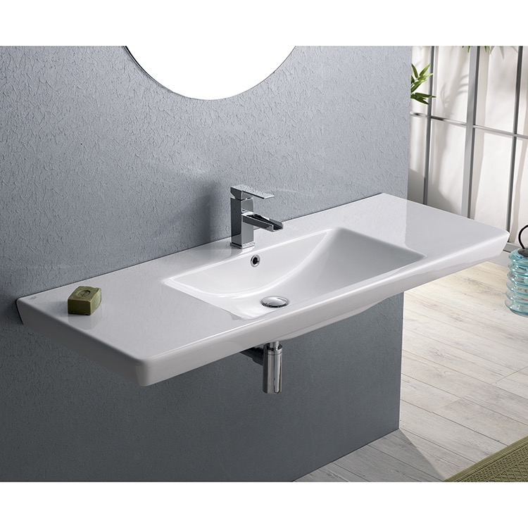 Bathroom Sink, CeraStyle 068500-U-One Hole, Rectangular White Ceramic Wall Mounted or Drop In Bathroom Sink