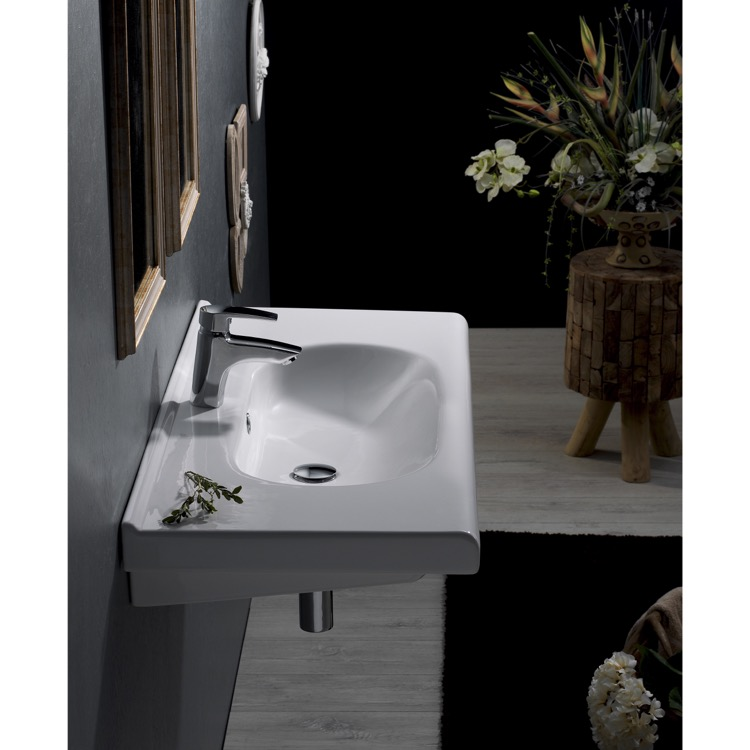 Bathroom Sink, CeraStyle 069000-U-One Hole, Rectangle White Ceramic Wall Mounted Sink or Drop In Sink