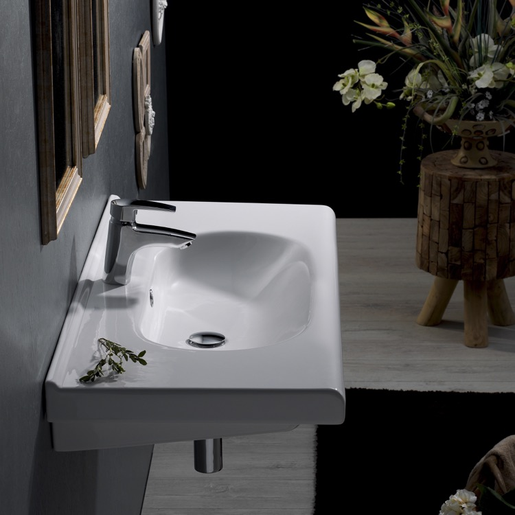 Bathroom Sink, CeraStyle 069100-U-One Hole, Rectangle White Ceramic Wall Mounted Sink or Drop In Sink