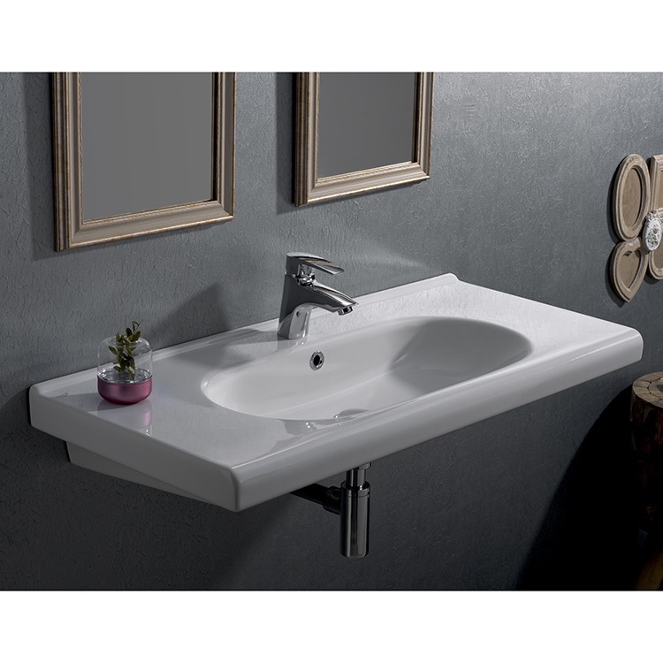 Bathroom Sink, CeraStyle 069200-U-One Hole, Rectangle White Ceramic Wall Mounted Sink or Drop In Sink