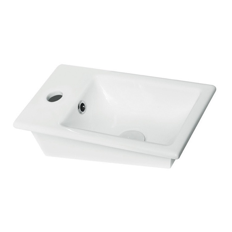 Bathroom Sink, CeraStyle 071000-U-One Hole, Rectangle White Ceramic Drop In Sink