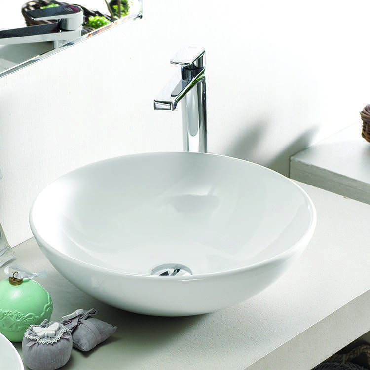 Bathroom Sink, CeraStyle 071600-U-No Hole, Round White Ceramic Vessell Sink