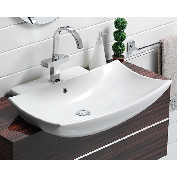 Bathroom Sink, CeraStyle 074800-U-One Hole, Curved Rectangular White Ceramic Wall Mounted or Semi-Recessed Sink