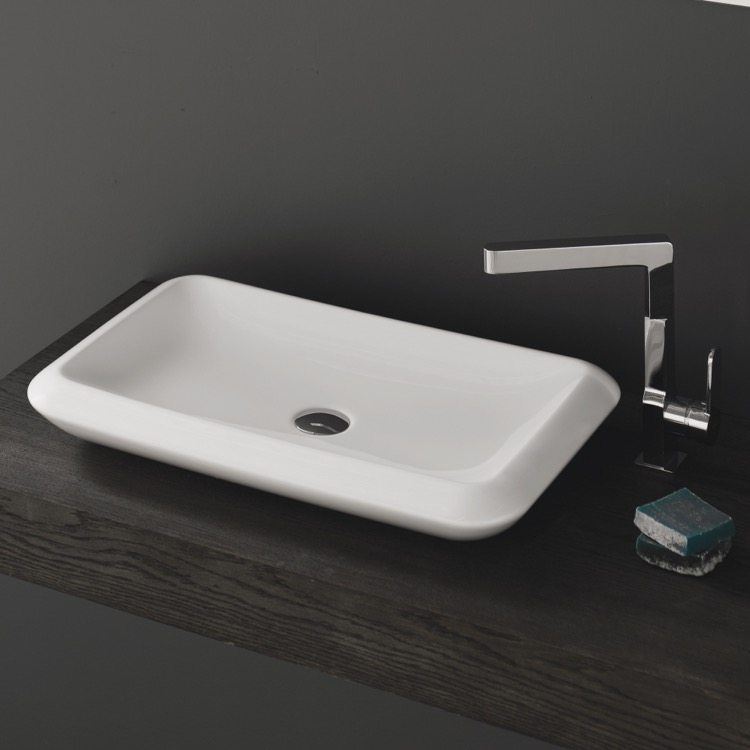 Bathroom Sink, CeraStyle 075700 U, Rectangle White Ceramic Vessel Sink