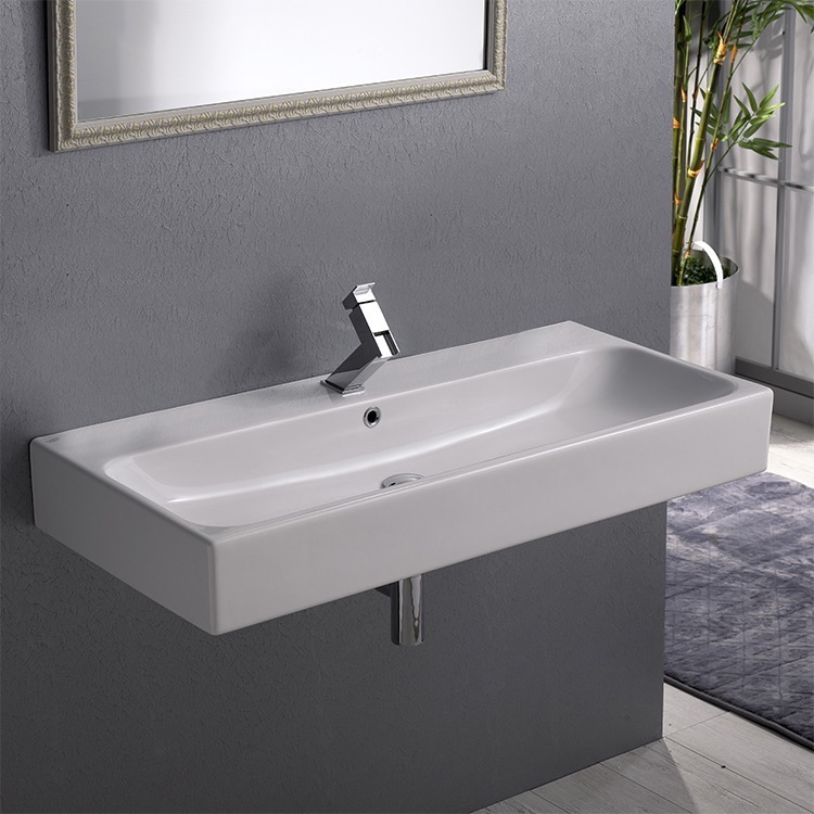 Bathroom Sink, CeraStyle 080300-U-One Hole, Rectangular White Ceramic Wall Mounted or Vessel Sink