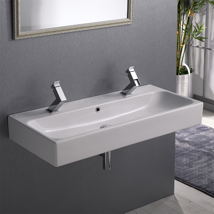 Bathroom Sink, CeraStyle 080500 U, Trough Ceramic Wall Mounted Or Vessel  Sink