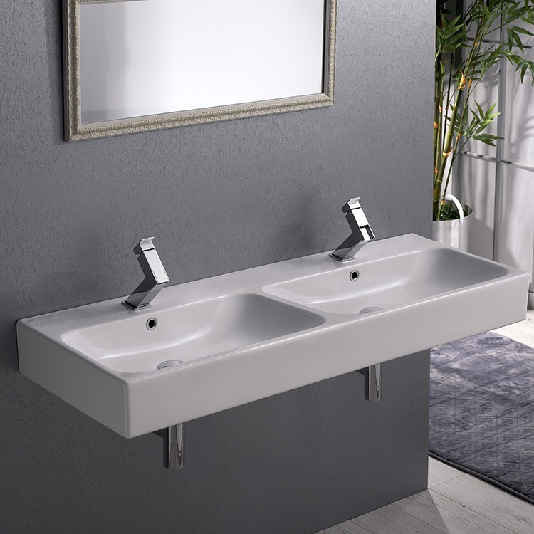 Bathroom Sink, CeraStyle 080700-U-Two Hole, Double Rectangular Ceramic Wall Mounted or Vessel Sink