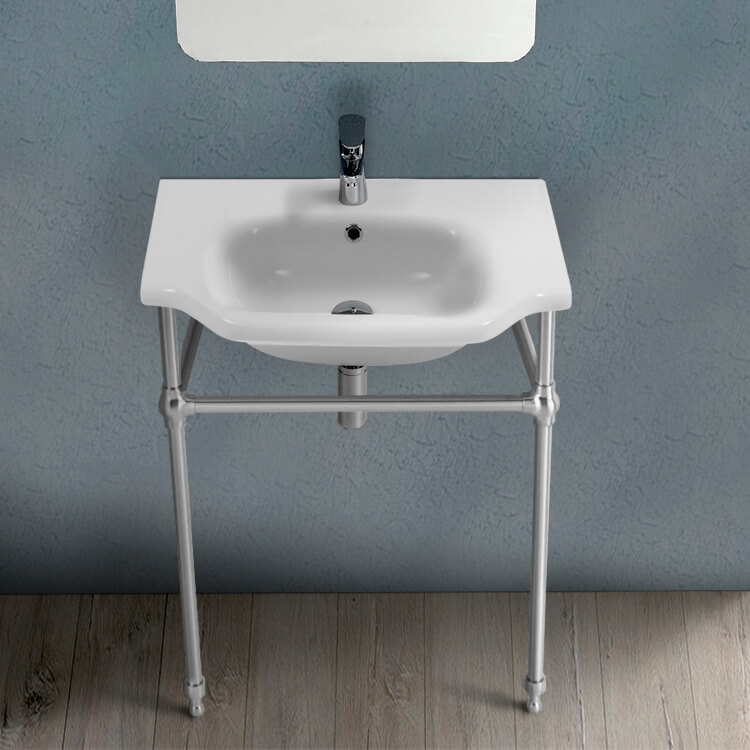 Bathroom Sink, CeraStyle 081000-CON-One Hole, Traditional Ceramic Console Sink With Chrome Stand