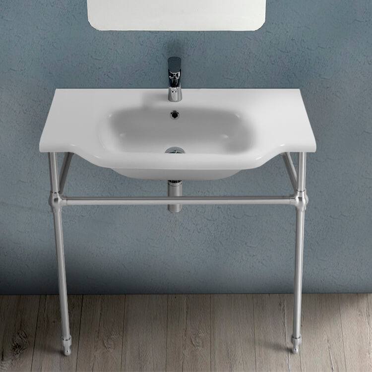 Bathroom Sink, CeraStyle 081200-CON-One Hole, Traditional Ceramic Console Sink With Chrome Stand