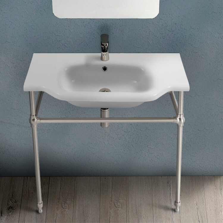 Bathroom Sink, CeraStyle 081200-CON-SN-One Hole, Traditional Ceramic Console Sink With Satin Nickel Stand