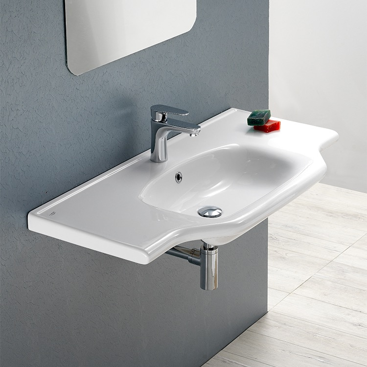 Bathroom Sink, CeraStyle 081300-U-One Hole, Rectangular White Ceramic Wall Mounted or Drop In Sink