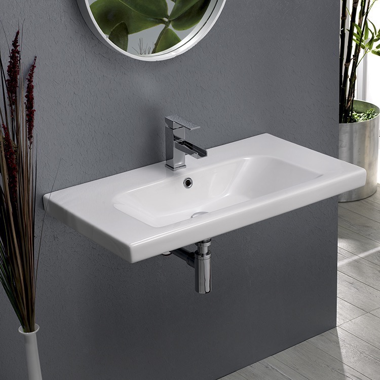 Bathroom Sink, CeraStyle 081600-U-One Hole, Rectangle White Ceramic Wall Mounted or Drop In Sink