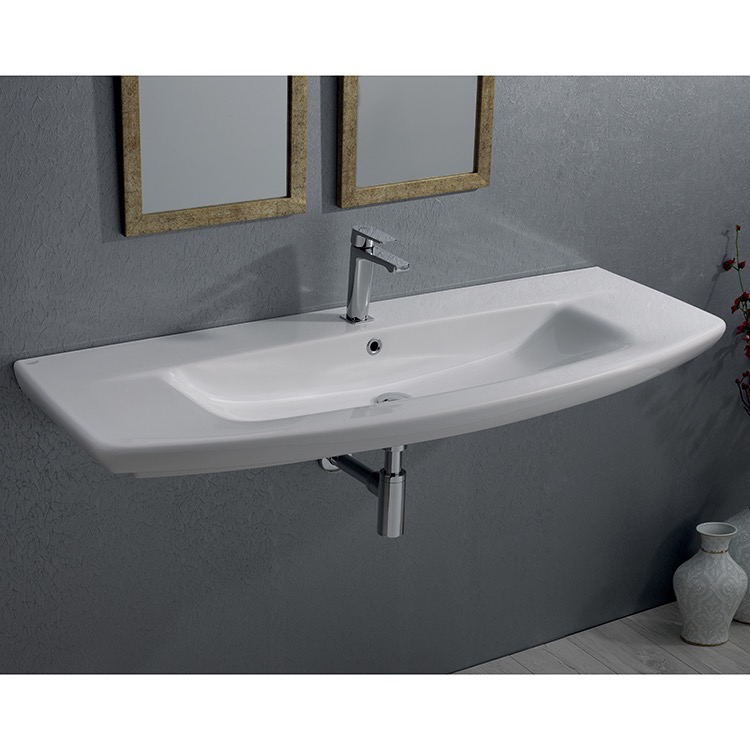 Bathroom Sink, CeraStyle 083700-U-One Hole, Rectangle White Ceramic Wall Mounted or Drop In Sink