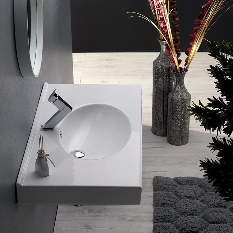 Bathroom Sink, CeraStyle 084200-U, Rectangle White Ceramic Wall Mounted or Drop In Sink