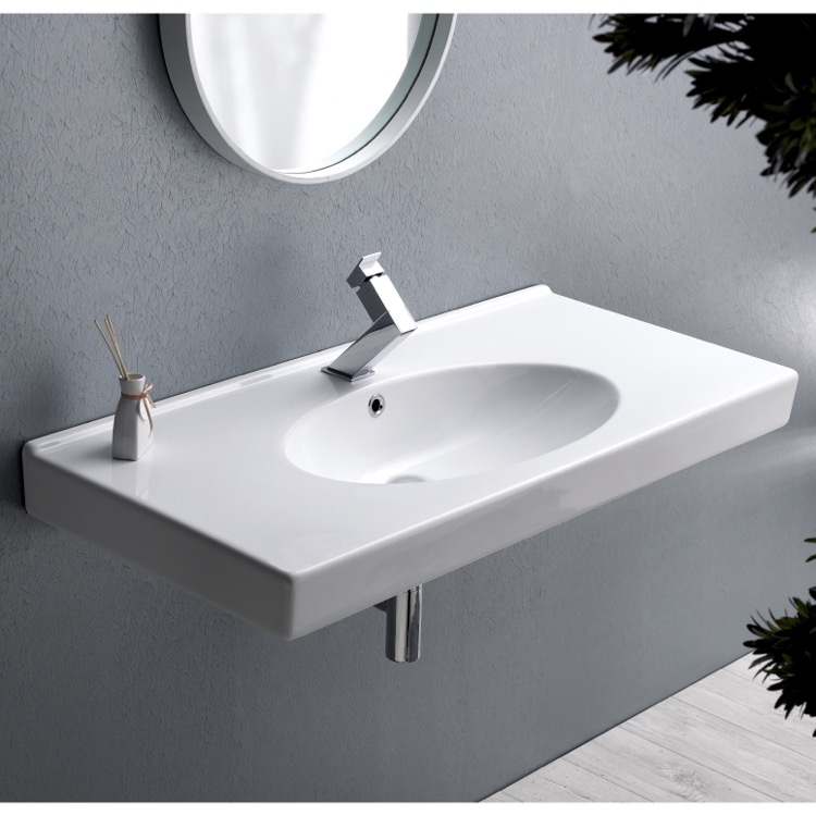 Bathroom Sink, CeraStyle 084400-U-One Hole, Rectangle White Ceramic Wall Mounted or Drop In Sink