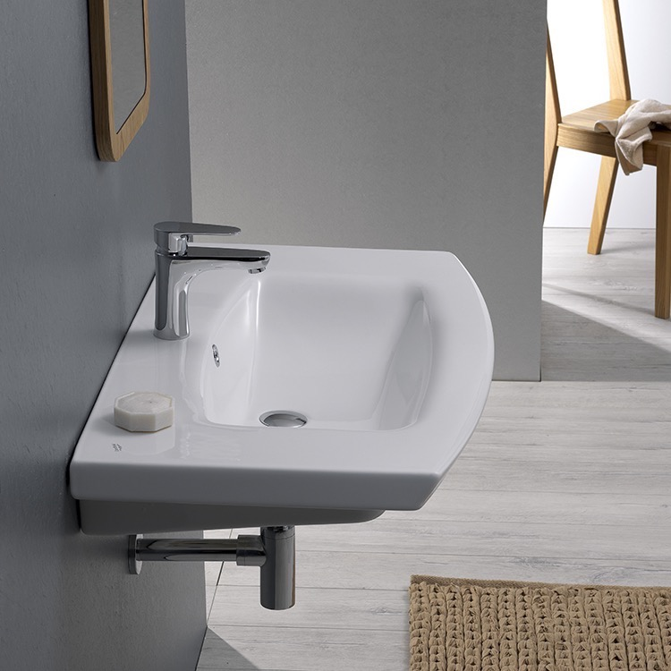 Bathroom Sink, CeraStyle 090100-U-One Hole, Rectangle White Ceramic Wall Mounted or Drop In Sink