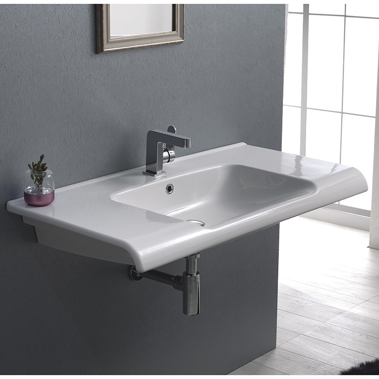 Bathroom Sink, CeraStyle 090800-U-One Hole, Rectangle White Ceramic Wall Mounted or Drop In Sink