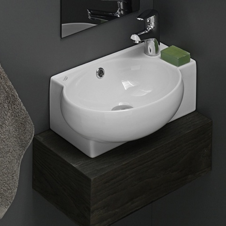 Gentil Bathroom Sink, CeraStyle 001300 U, Curved Corner White Ceramic Wall Mounted  Or Vessel
