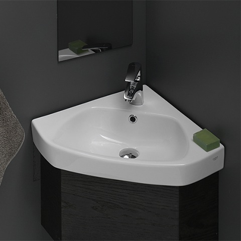 Bathroom Sink, CeraStyle 001900-U, Corner White Ceramic Self-Rimming or Wall Mounted Bathroom Sink