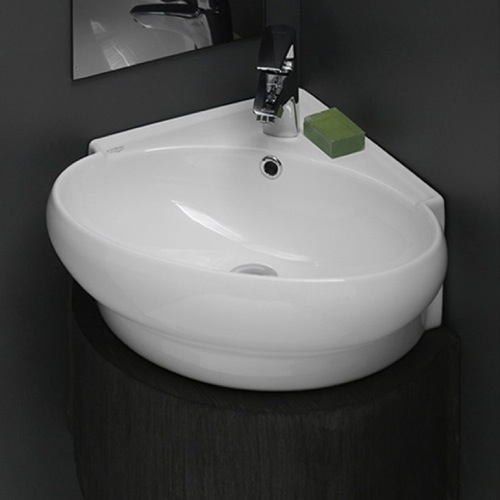 Bathroom Sink, CeraStyle 002000-U-One Hole, Round Corner White Ceramic Wall Mounted or Vessel Sink