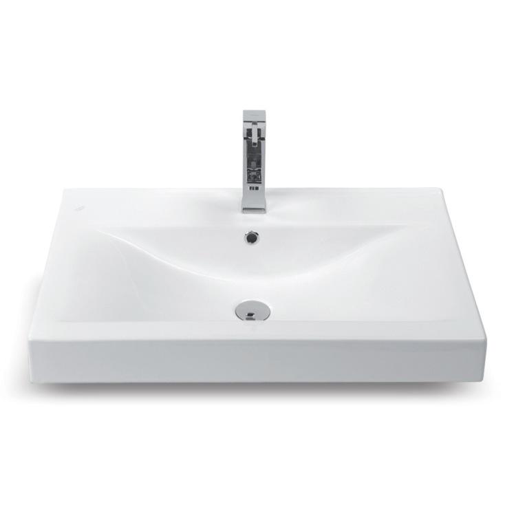 Wall Mounted Rectangular Sink : ... Rectangular White Ceramic Wall Mounted or Self-Rimming Bathroom Sink
