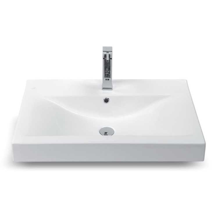 Cerastyle 064200 U By Nameek S Mona Rectangular White Ceramic Wall Mounted Or Drop In Bathroom Sink Thebathoutlet
