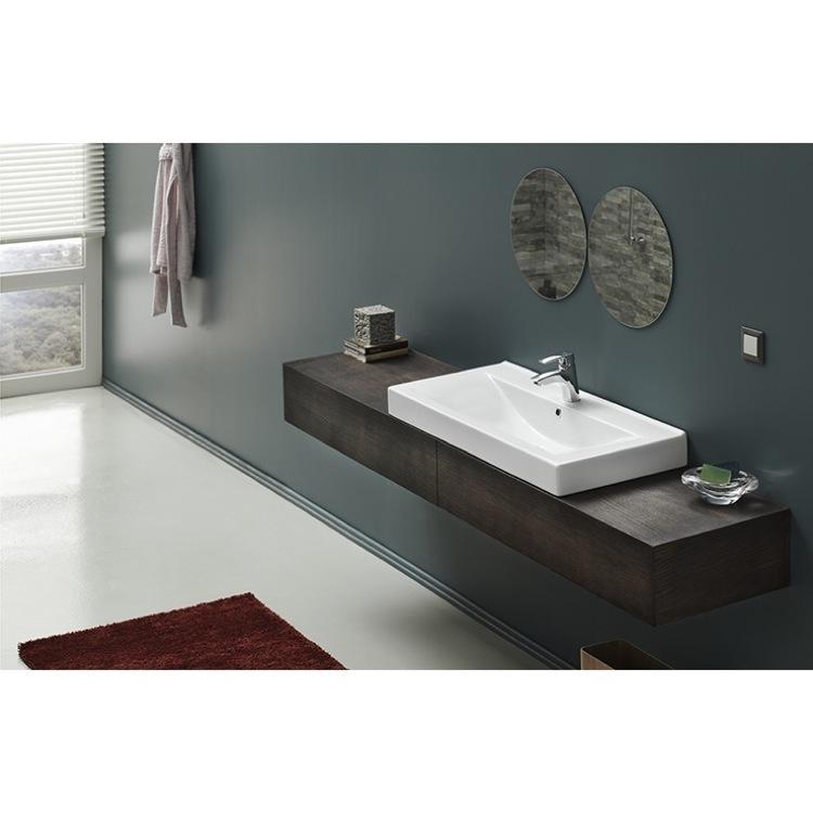 Wall Mounted Rectangular Sink : Sink, CeraStyle 064600-U, Rectangular White Ceramic Wall Mounted ...