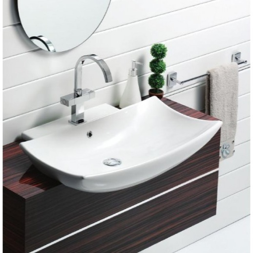 Curved Bathroom Sink : ... Curved Rectangular White Ceramic Wall Mounted or Vessel Bathroom Sink