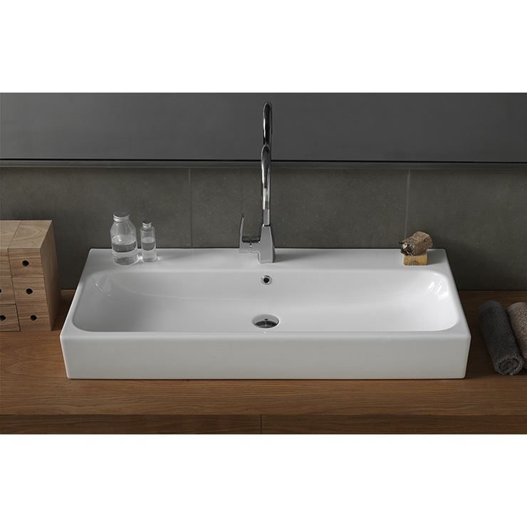 ... Pinto Rectangular White Ceramic Wall Mounted or Vessel Sink 080300-U