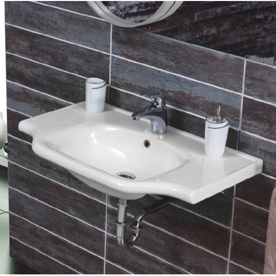 Bathroom Sink, CeraStyle 081000-U-One Hole, Rectangular White Ceramic Wall Mounted or Drop In Sink