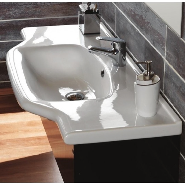 Bathroom Sink, CeraStyle 081200-U, Rectangular White Ceramic Wall Mounted or Self-Rimming Bathroom Sink