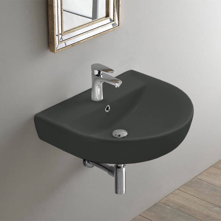 Bathroom Sink, CeraStyle 003109-U-97-One Hole, Round Matte Black Ceramic Wall Mounted Sink