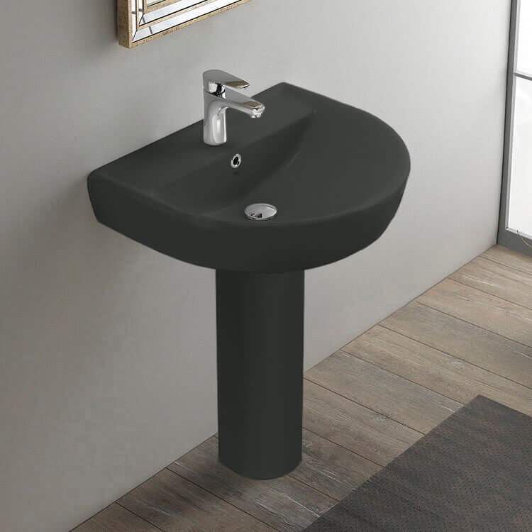 Bathroom Sink, CeraStyle 003109U-97-PED-One Hole, Round Matte Black Ceramic Pedestal Sink