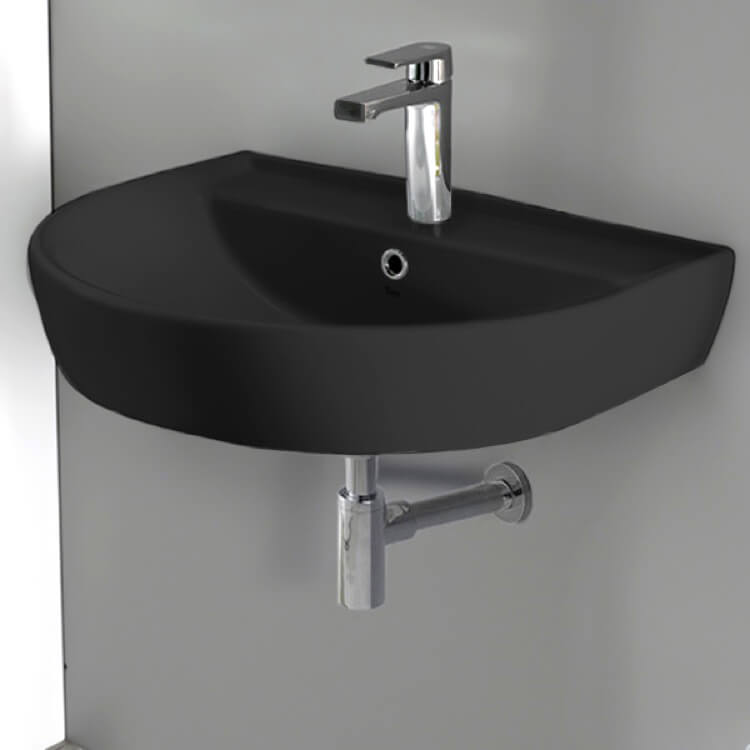 Bathroom Sink, CeraStyle 007809-U-97-One Hole, Round Matte Black Ceramic Wall Mounted Sink