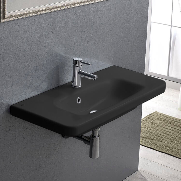 Bathroom Sink, CeraStyle 033309-U-97-One Hole, Rectangle Matte Black Ceramic Wall Mounted Sink or Drop In Sink