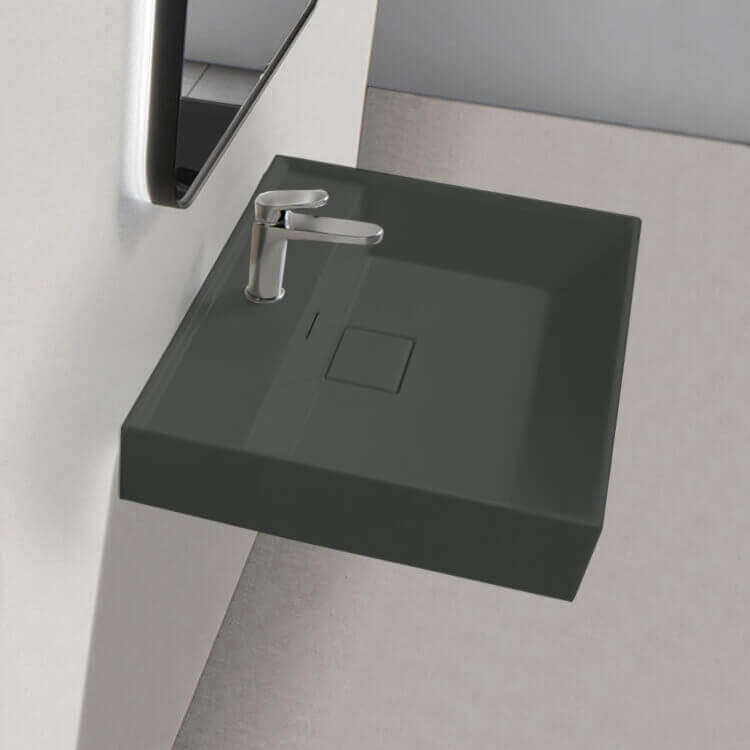 Bathroom Sink, CeraStyle 037009-U-97-One Hole, Square Matte Black Ceramic Wall Mounted or Drop In Sink