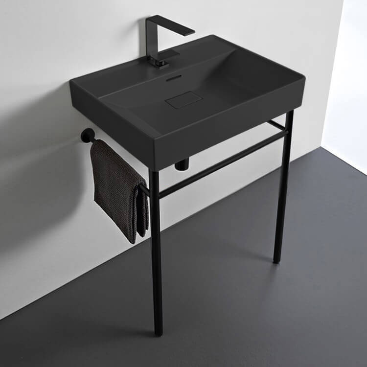 Bathroom Sink, CeraStyle 037107-U-97-CON-BLK-One Hole, Rectangular Matte Black Ceramic Console Sink and Matte Black Stand