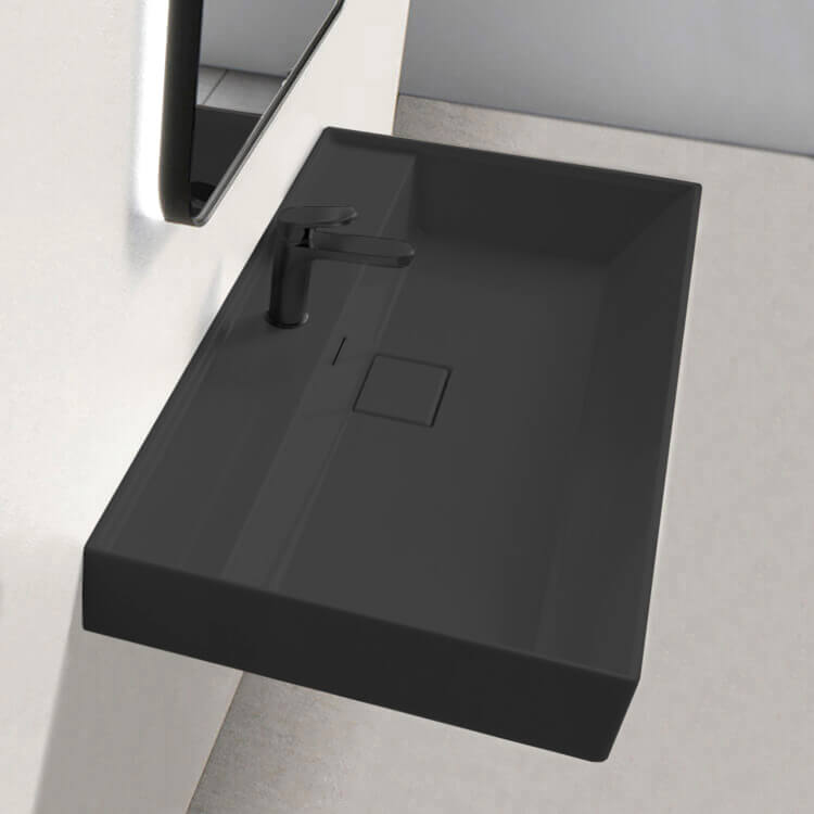 Bathroom Sink, CeraStyle 037307-U-97-One Hole, Rectangular Matte Black Ceramic Wall Mounted or Drop In Sink