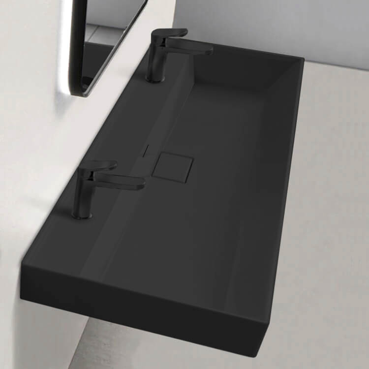 Bathroom Sink, CeraStyle 037607-U-97-Two Hole, Trough Matte Black Ceramic Wall Mounted or Drop In Sink