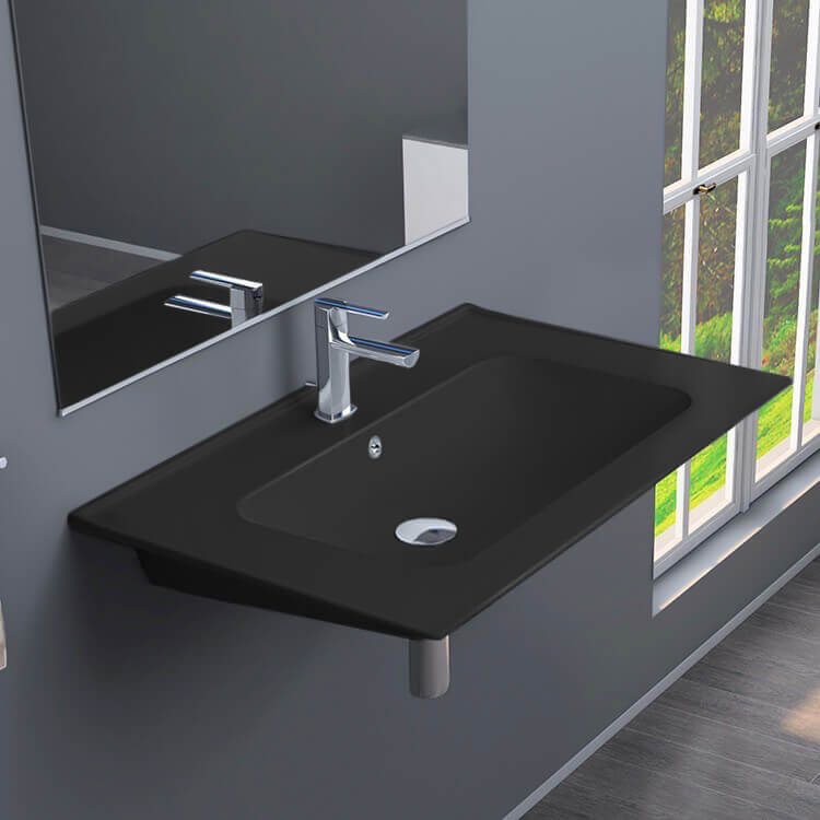 Bathroom Sink, CeraStyle 042009-U-97-One Hole, Rectangular Matte Black Ceramic Wall Mounted or Drop In Sink