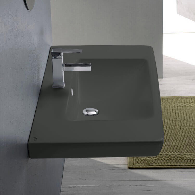 Bathroom Sink, CeraStyle 068109-U-97-One Hole, Rectangle Matte Black Ceramic Wall Mounted or Drop In Sink